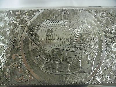 Antique 950 Silver Engraved Cigarette Case, Ship of the Crusades Theme, 180g