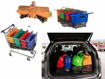 a Set of 4 Foldable Bags Shopping Bags Eco Reusable Tote Grocery Carrier 4colors