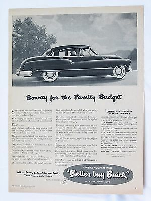 1950 Buick Full One Page Print Advertisement