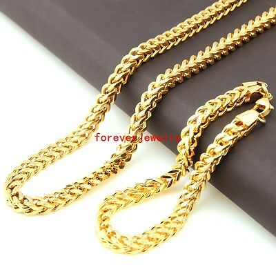"""New Stainless Steel 18K Gold Figaro Chain Mens Necklace 23.6""""&Bracelet 9.4"""" Sets"""