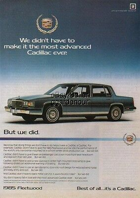 1985 blue Cadillac Fleetwood car photo print Ad : Vintage Advertising MMXV