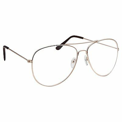 classic vintage aviator clear lens gold metal frame womens eyeglasses glasses
