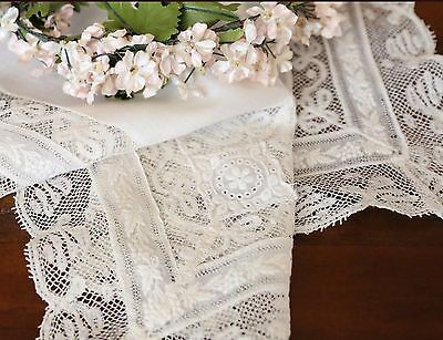 Antique French Valenciennes Lace & Embroidered Grapes Hanky