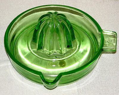 Federal Vintage Green Glass Juicer Reamer Tab Handle