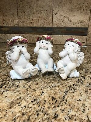 (3) Vintage Dreamsicles Hear, See, Speak No Evil Figurine Angel Kristin 1997
