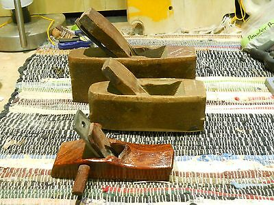 3 Wooden Hand planes, Scrub style, smooth style, japanese style