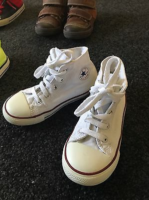 Child's White High-Top Converse - Size UK10