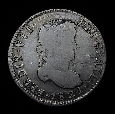 2 reales Ferdin VII Zacatecas 1821 Clashed Dies SILVER COIN...NO RESERVE!!!