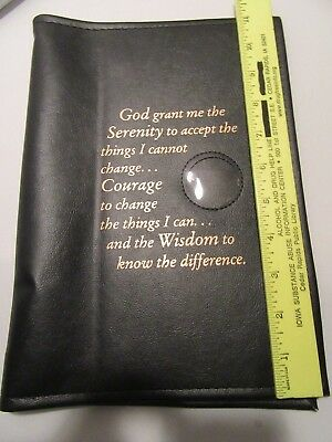 Alcoholics Anonymous AA Big Book LARGE PRINT Serenity Black Cover Medallion
