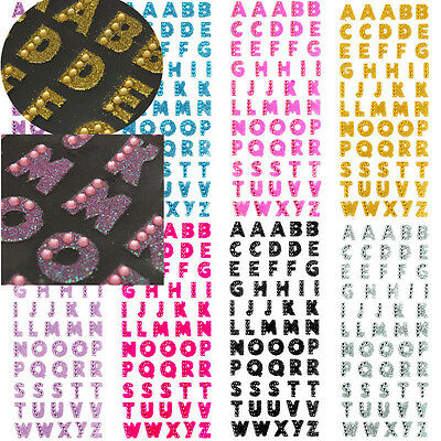 Self Adhesive STICKERS Glitter Diamante Alphabet Letters Favour Embellishment