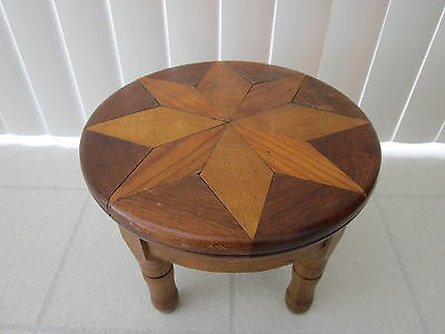 Antique Primitive Folk Art Americana Wooden Inlay Star Stool Footstool Bench