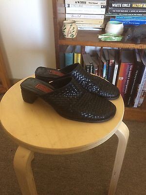 Vintage 90s Nineties Leather Woven Mules 8