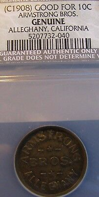 Extremely Rare Genuine California Gold Rush town of Alleghany 10 cent token