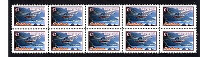 Seaplanes Strip Of 10 Mint Stamps, Sikorsky S-38