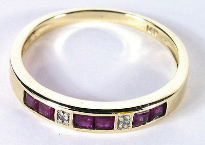 Amazing Ruby & Diamond Estate Ring in 14K Yellow Gold