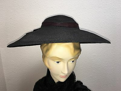 1940's-50's Vintage Black Straw Hat With Big Black Triple Ribbon Bow In Back