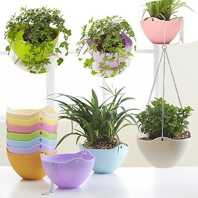 1X Plastic Hanging Flower Pot Chain Plant Planter Basket Garden Home Decor NEW