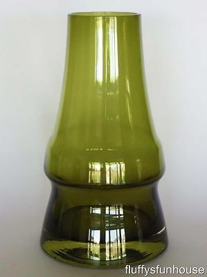 RIIHIMAKI FINLAND AIMO OKKOLIN PIPPU GREEN GLASS VASE 1970's EXCELLENT CONDITION