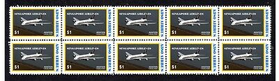 SINGAPORE AIRLINES A380 AIRBUS 1st FLIGHT STAMP STRIP 3