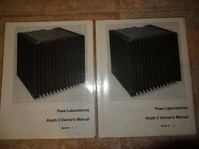 Pass Labs Aleph 2 Monoblock Amplifier Manuals