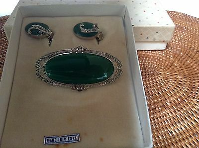 Old Deco Brooch and Earring Set