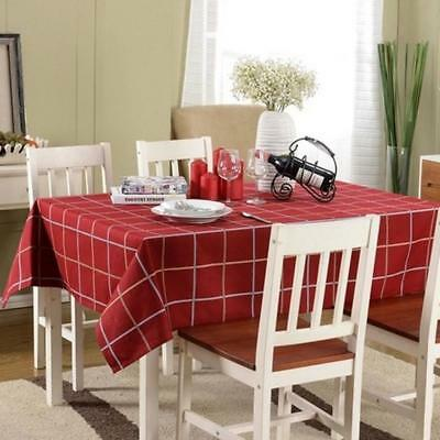 Retro Tablecloth British Style Red Plaid Table Cover Dinning Decor 145*220cm