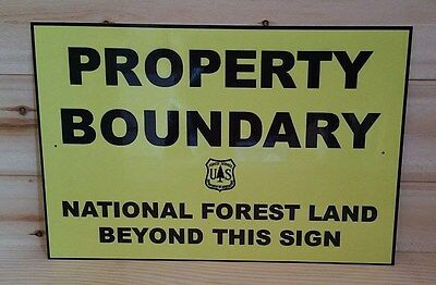 Property Boundary U.s. Forest Service Metal Sign 8X12 Log Cabin No Trespassing