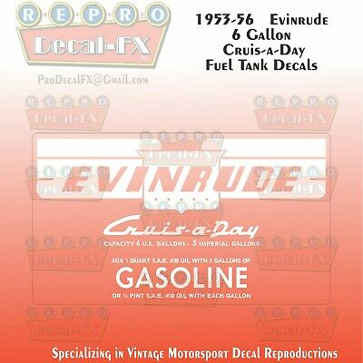 1953-56 Evinrude 6 Gallon US CruiseADay Fuel Tank Decals Reproduction 2Pc Vinyl