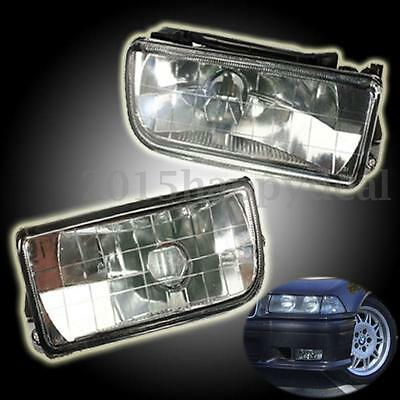 PAIR CRYSTAL CLEAR FRONT LAMP SPOT LIGHT FOG DRIVING LIGHTS FOR BMW 3 Series