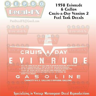 1958 Evinrude 6 Gallon US Cruise-A-Day-Six Fuel Tank Decals Repro 2Pc Vinyl Ver2