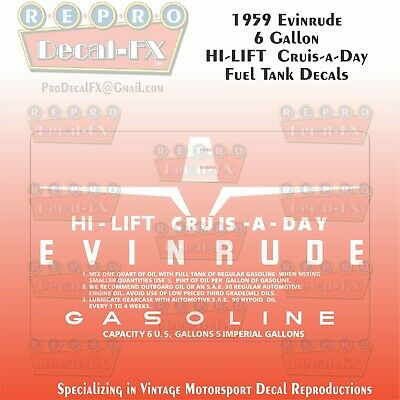 1950-51 Evinrude Tall Boy Cruise A Day Fuel Tank Decals Reproduction 4 Pc Vinyl