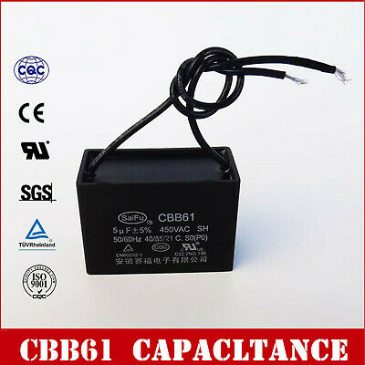 1X 450V AC 5uF 50/60Hz Polypropylene Film Motor Start Run Capacitor CBB61 OZ