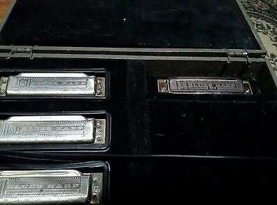 Used Blues Harps A C G G. M Hohner made in Germany, case a bit marked