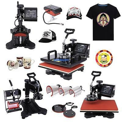 "8 in 1 15""x12"" Heat Press Machine Cap Plate Cup Mug T-shirt Sublimation Transfer"