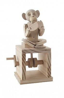 Cheeky Monkey Self Assembly Wooden Moving Model Kit Automata Timberkits Set Gift