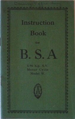 Instruction Book for BSA 4.96 H.p. S.V. Motor Cycle Model W