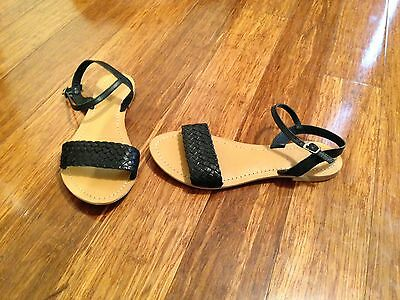 New - Size 9 - Black Woven Leather Flat Sandals