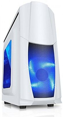 CiT Dragon 3 Midi Case With 12 Cm Blue LED Fans And Side Window - White
