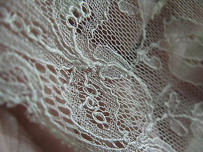 Antique Pusher Machine Pure Silk Sheer Net Lace Trim Made In France, 3.5 Yards!
