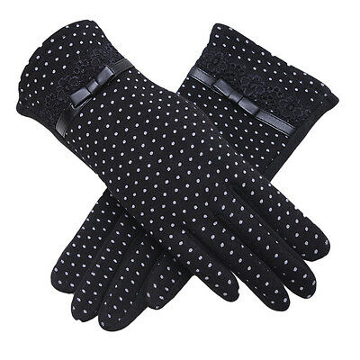 Womens Winter Warm Fleece Lined Lace Cotton Gloves Ladies Touch Screen Mittens