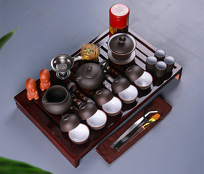 Chinese Kung Fu Tea Set Drinkware include Tea pot Cup Tureen Infuser TeaTray