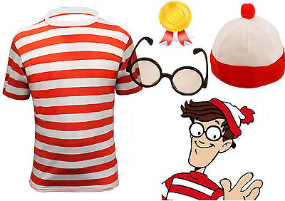 MENS RED /& WHITE STRIPED T SHIRT HAT GLASSES STAG DO FANCY DRESS COSTUME