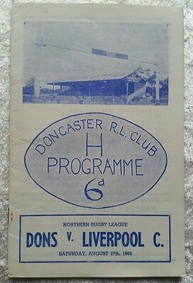 Doncaster v Liverpool C Saturday August 27th 1966 RARE Rugby League Programme
