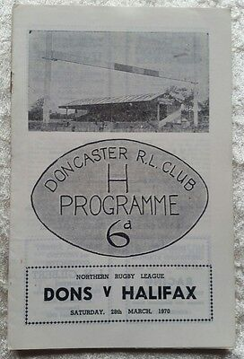 Doncaster v Halifax Saturday 28th March 1970 Rugby League Programme