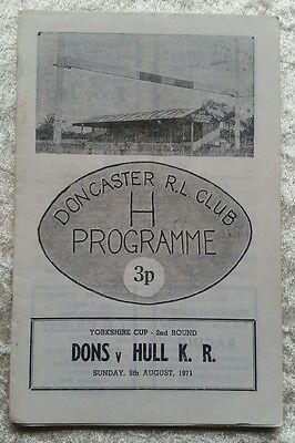 Doncaster v Hull KR Yorkshire Cup 1971 Rugby League Programme
