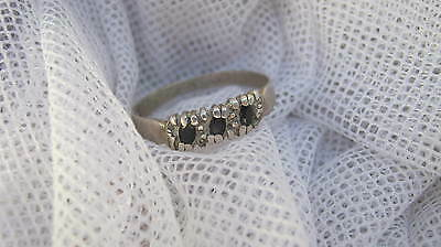 LOVELY 1960s GENUINE SAPPHIRE BAND RING - EXC. - 9.25 STERLING SILVER - $1 POST