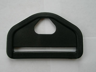 "2 X Black Plastic Hexagon D' Ring / Triangle For 50Mm / 2"" Wide Web"