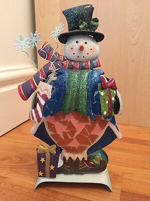 CHRISTMAS, SNOWMAN, TEA LIGHT, HOLDER, GLASS, MOSAIC, METAL From Costco