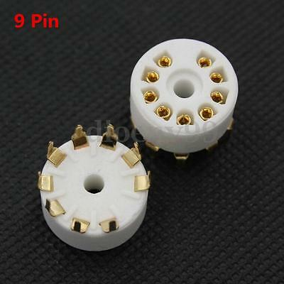 6Pcs 9Pin Gold Plated PCB Mount Ceramic Tube Socket For 12AX7 ECC83 5670 EL84