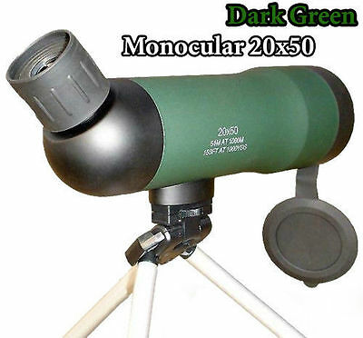 Monocular Telescope Spotting Scope 20X50 W/ Tripod Dark Green Bird Watching